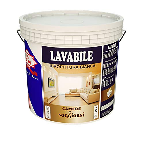 GDM 600008600010229 Lavabile Idropittura Ideale per Camere e Soggiorni, Bianco