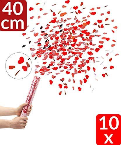 Partyjoker 10 Konfettikanone mit roten Herzen 40cm für Hochzeit | Extra lauter Knall | Konfetti Shooter mit hoher Schussweite