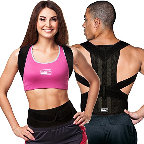 Posture Corrector for Women & Men – Back Brace & Shoulder Support Trainer for Pain Relief & Improve Bad Slouching Problems - Fully Adjustable Clavicle Medical Belt Straightener (Small)
