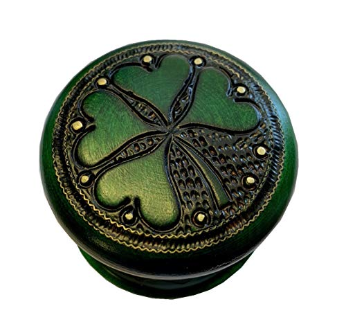 MilmaArtGift Lucky Charm Celtic Four-Leaf Clover Wooden Box Small Jewelry Cufflink Ring Good Luck Round Box