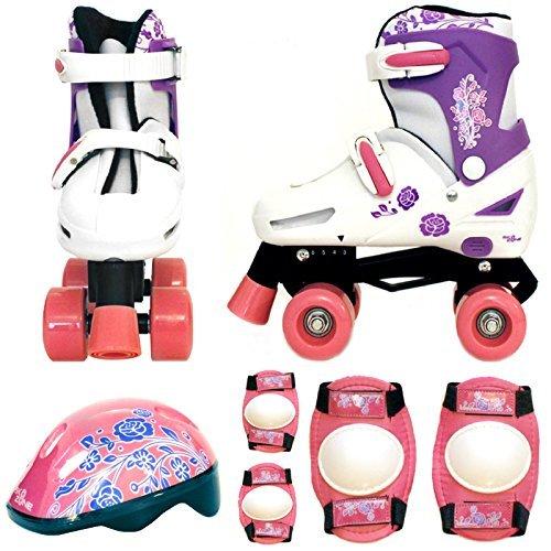 Sk8 Zone By Eurotrade Girls HW218752 Pink White Sk8 Zone Quad Kids Roller Boots Safety Pads Helmet Childrens Skate Set Large 3 6 35 38 EU
