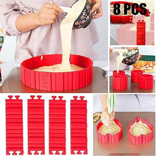 Nifogo Tortenring Verstellbar, Bake Snake, kuchenform Silikon, silikon Form, Backform, Fondant Zubehör, Cake Mould, DIY eine Vielzahl von Formen
