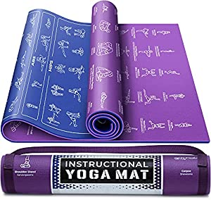 Instructional Yoga Mat with Carrying Strap