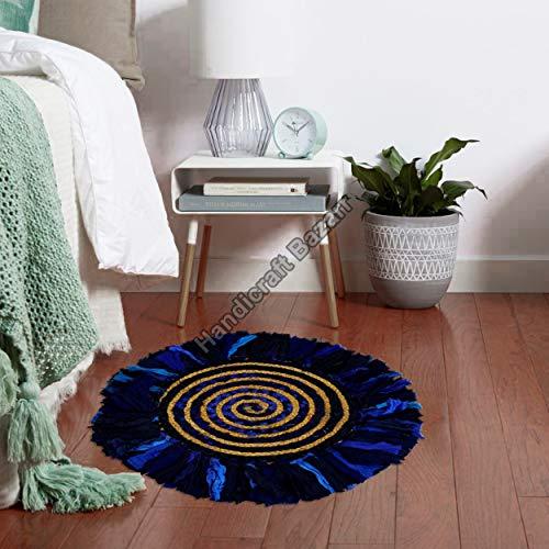 Handicraft Bazarr Alfombra de yute para puerta de entrada de 61 cm, redonda, de algodón trenzado, de yute, de algodón, de yute, de bienvenida, de yute, de algodón, de algodón y tejido a mano