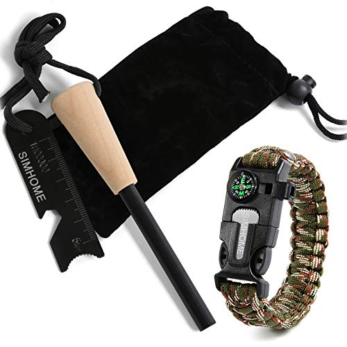 "SIMHOME 5/16"" Thick Bushcraft Fire Steel with Handcrafted Wood Handle 
