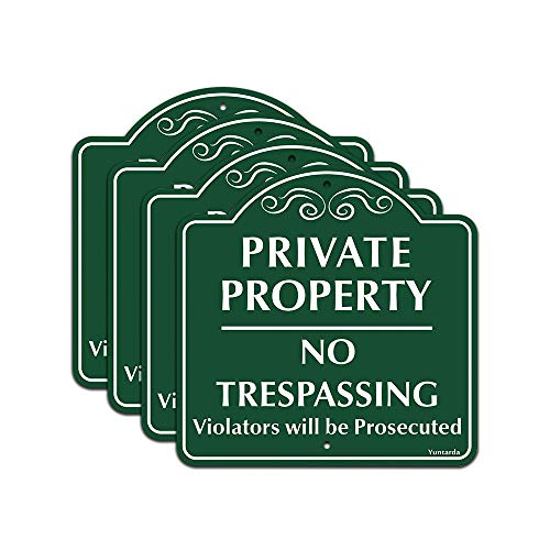 """No Trespassing Sign, Private Property Sign Yuntarda 4PCS 12""""x12"""" Aluminum Metal Sign UV Print Weather Resistant Pre-drilled Holes for Easy Mount for Wall Fence or Gate"""