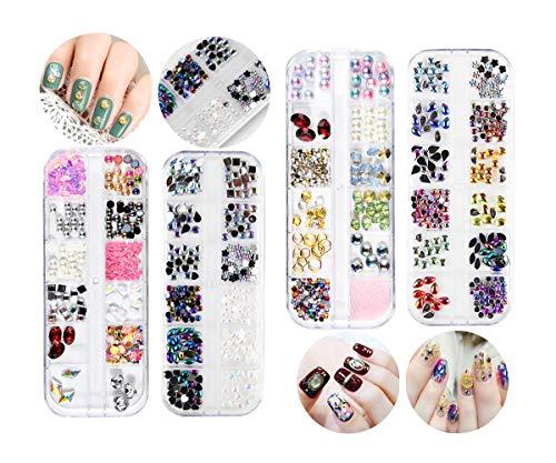 Nail Art Cristal Nail Strass Nail Studs 4 Boîtes 12 Couleurs dans Chaque Boîte Cristaux Nail Art Gems