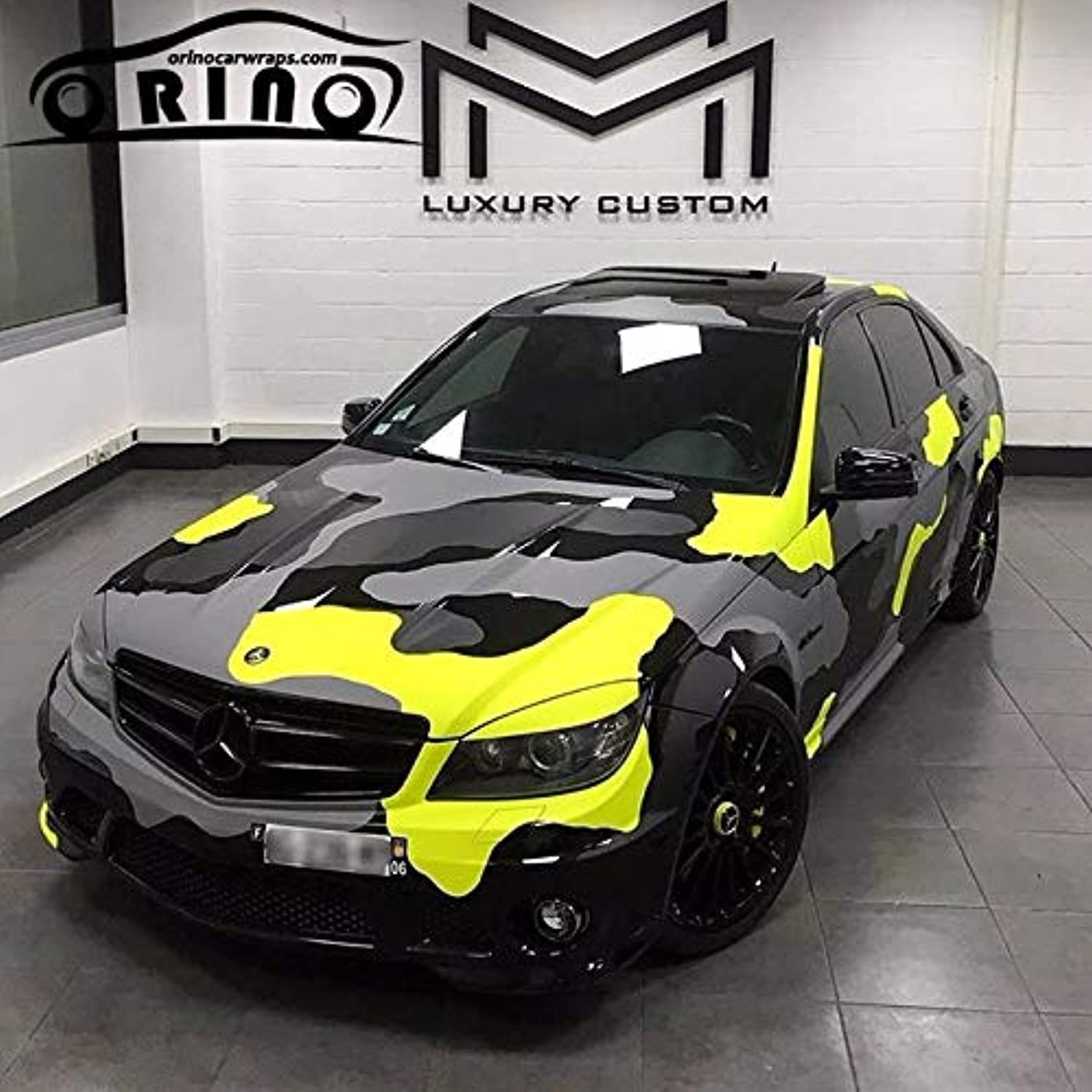 Yellow Black Printing Vinyl Car Wrap Styling with air Bubble Free Grey Black Yellow Graphics Car Sticker Film  (Size  1.52x15M 5X49FT, Style  Matte Finish)