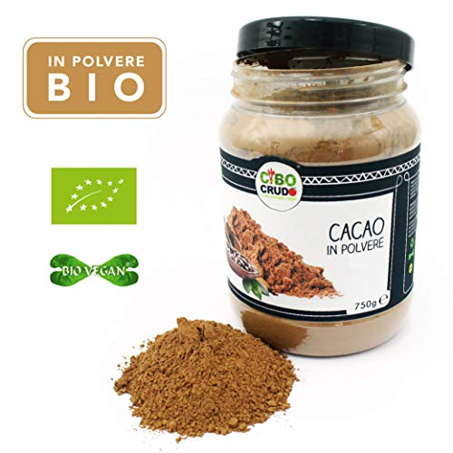 CiboCrudo Cacao in Polvere- 750 gr - Cacao Powder, Biologico Naturale e Puro al 100%, Fave di Cacao Criollo, Ricco di Minerali e Vitamine