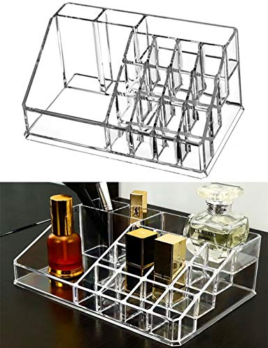 Clear Makeup Brush Holder Organizer, Acrylic 16 Spaces Cosmetic Storage, Lipstick Eyeliners Eyebrow Pencil Display Case, Beauty Sponges Holder Box Tray for Vanity Desk Bathroom Countertops Office Home