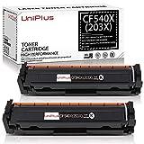 UniPlus Compatible para HP 203X 203A CF540X Cartuchos de Tóner para HP Color Laserjet Pro MFP M281fdw MFP M281fdn MFP M281CDW MFP-M280NW, HP Color Laserjet Pro M254dw M254nw M254dn, 2 Negro