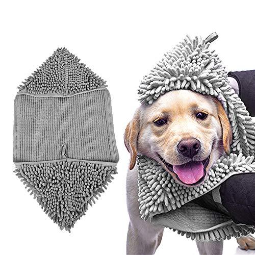 Snewvie badhanddoek, voor honden, katten, huisdieren, van microvezel, sneldrogend, super absorberend, badjas, deken, grote maat, L:80 * 35cm, grijs.