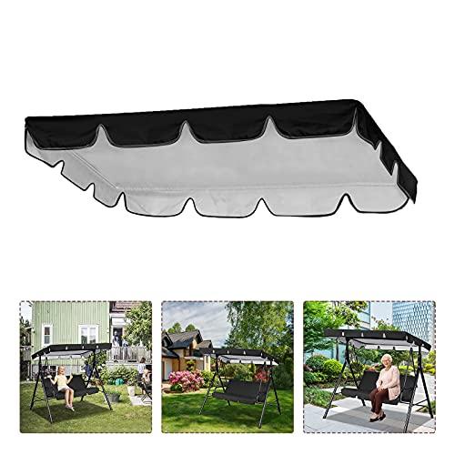 Cubierta de repuesto para silla de columpio, impermeable, resistente a los rayos UV, cubierta para toldo de columpio para patio al aire libre (98 x 73 x 7 pulgadas) (negro)