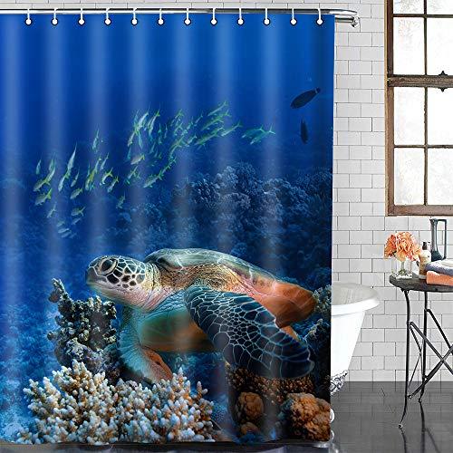 EULIFE grote schildpad koraal rif douchegordijn polyester stof 72 x 72inch (183x183cm) blauw onderwater wereld snel drogen waterdichte anti-schimmel badkamer douchegordijnen Set met 12 haken ZDEU555-72