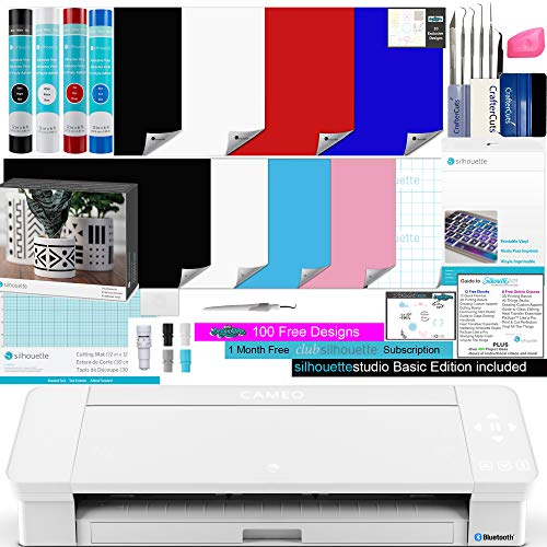 Silhouette Cameo 4 White Bundle - 4 Rolls of Vinyl, 8 Sheets Printable Vinyl, Vinyl Kit, 24 Pack of Pens, CrafterCuts Vinyl Tool Kit, 120, and Access to Ebooks, Tutorials, Classes
