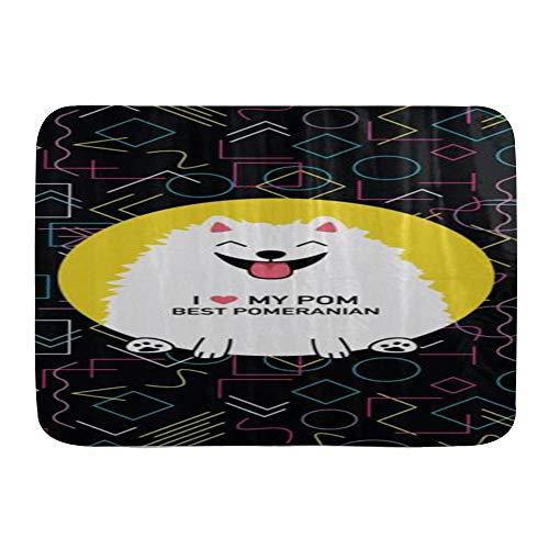 """TISAGUER Door Mats,I Love My Pom Best Pomeranian Geometric,Kitchen Floor Bath Rug Mat Absorbent Indoor Bathroom Decor Doormat Non Slip 29.5"""" X 17.5"""""""