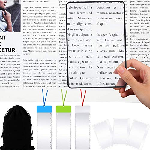 12 Stücke 3X Vergrößerung Blatt Set Enthalten 6 Seite Lupen Fresnel Linse Seite Lupe 3 Kartenlupe 3 Lesezeichen Lupen zum Lesen Kleiner Druck Bücher Karten