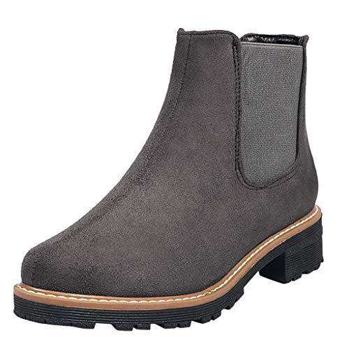 TWIFER Botas Chelsea para Mujer Botines Zapatos Boots otoño Invierno Moda Tacón Ancho Botines Color sólido Zapatos de Tacón Fiesta Antideslizante Negro Gris 35-43