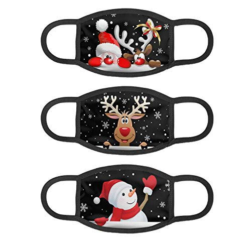 3PCS Face Madk Santa Claus Snowman Reindeer Tree Cloth Funny Mouth C_over Washable Protection for Decorations