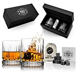 Hediyesepeti Glasgow - Set regalo per whisky con 2 bicchieri, confezione regalo e pietre per whisky, set regalo per il 40° compleanno