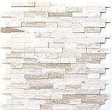 Mosaikfliese selbstklebend Marmor Naturstein grauweiß Naturstein white wood MOS200-0120