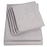 Sweet Home Collection King Size Bed Sheets-6 Piece 1500 Thread Count Fine Brushed Microfiber Deep Pocket Set-EXTRA PILLOW CASES, VALUE, Classic Stripe Gray