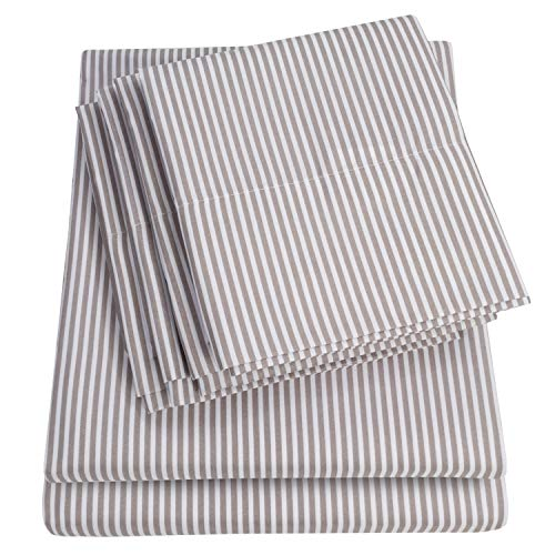 Sweet Home Collection Twin Size Sheets-4 Piece 1500 Thread Count Fine Brushed Microfiber Deep Pocket Set-EXTRA PILLOW CASES, VALUE, Classic Stripe Gray