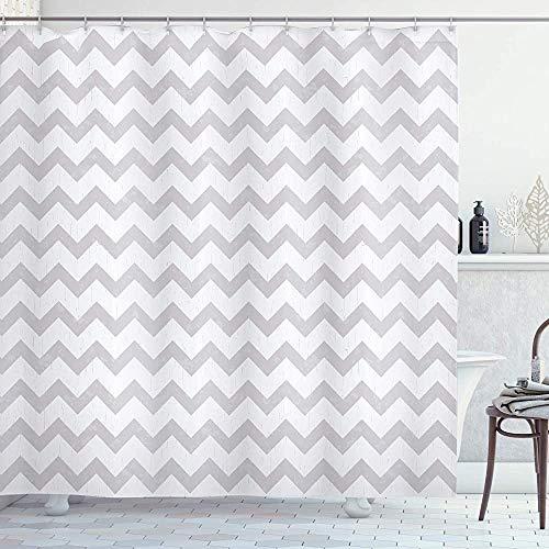 Grijze en witte douchegordijn Chevron Patroon Zigzag Geometrische pijllijnen Strepen Abstract Print Doek Stof Badkamer Decor Set met Haken Lichtgrijs 66 * 72in