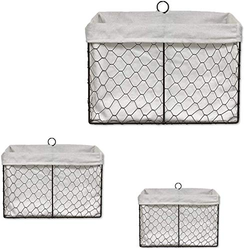THE NIFTY NOOK - Set of 3 Farmhouse Wall Mount Wire Baskets Liner Set Home and Kitchen Storage Farmhouse Wall Baskets - Bright White