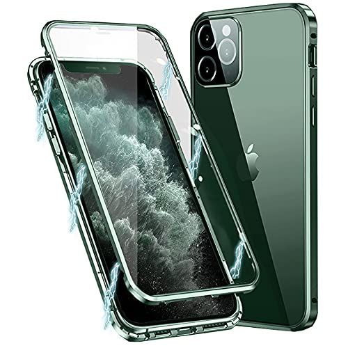 Funda para iPhone 11 Pro, Carcasa Adsorción Magnética Funda con Protector de Cámara Protección de 360 Grados Transparente Case for Apple iPhone 11 Pro 5,8'', Verde Noche
