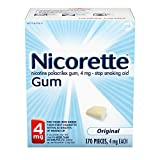 Nicorette 4 mg Nicotine Gum to Quit Smoking, Unflavored Stop Smoking Aid, Original 170 Count (Pack of 1)