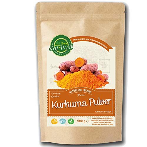 Kurkuma Pulver gemahlen ( 1000g ) - Curcuma / Curcumin | Rohkostqualität Kurkumapulver | 100% naturrein aus Indien I Eat Well Premium Foods
