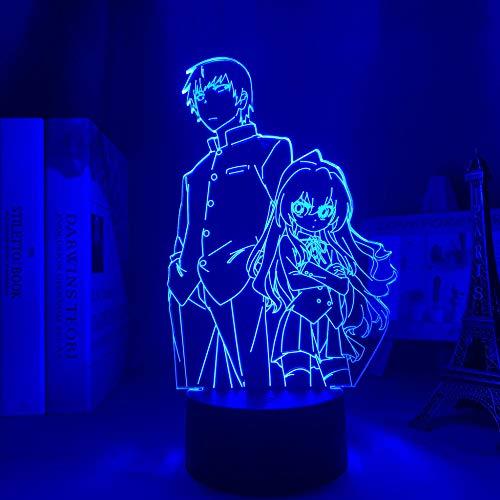 Lámpara de anime 3D para niños, luz LED Toradora para decoración de habitaciones, luz de noche de Manga, decoración de dormitorio, mesa, TIGRE y DRAGÓN para regalo de cumpleaños