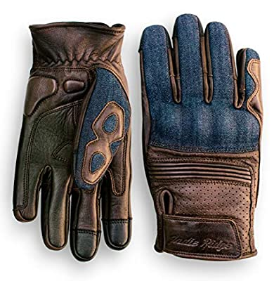Denim & Leather Motorcycle Gloves (Brown) with Mobile Phone Touchscreen by Indie Ridge (Large) from Indie Ridge