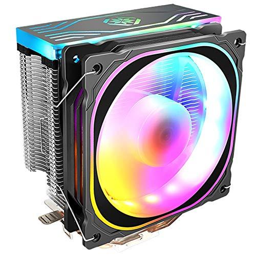 Domilay Ventilador Enfriador de CPU LED RGB 4 Heatpipe 12V Enfriador 120Mm Ventilador de RefrigeracióN Radiador Disipador de Calor para LAG1155 1156 1366 para