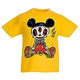 lepni.me Camisas para niños Esqueleto de un ratón (7-8 Years Amarillo Multicolor)