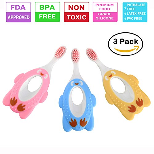 Baby Toothbrush, Toothbrush Set for Infant,Toddlers and Kids, Soft Bristles Oral Care Kit ,BPA-Free Training Teether (3 Pack),Lideemo