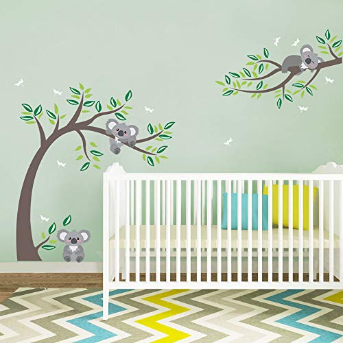 decalmile Pegatinas de Pared Koala y Árbol Vinilos Decorativos Libélulas Oso Koala Adhesivos Pared Infantiles Habitación Bebés Niños Dormitorio Guardería