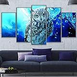 GYSS 5 Paneles Lona Sala De Estar Decoración para El Hogar Arte De La Pared Imágenes 5 Piezas Espacio Virtual Animal Owl Painting HdMarco