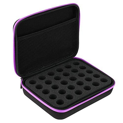 Boîte de rangement d'huiles essentielles 30 contenants essentiels bouteilles coque dure extérieur EVA sac de rangement d'huiles essentielles avec poignée(Violet)