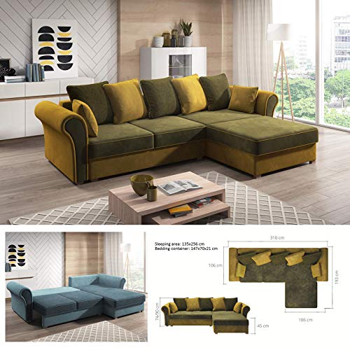 MHF 'GUSTO Corner ' moderno sofá cama esquinero de almacenamiento de piel sintética y tela derecha básica