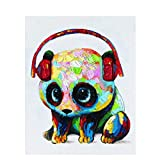 Diamond Painting Accessories DIY 5D Diamond Painting Kits for Adults Round Drill Diamond Art for Relaxation and Home Wall Decor - 1416 Panda Wearing Headphones,16 x 20 inch