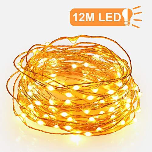 Sunnest 12M 120er USB Led Lichterkette Wasserdicht mit Schalter und USB-Port Stimmungslichter Lichterkette für Innen und Außen, DIY, Deko Lichterschlauch Warmweiß