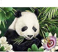 クロスステッチ刺繡はパンダを花と葉の隣に置きます11CT事前に印刷されたクロスステッチDIY手作りのスタンプパターン初心者のためのクロスステッチ針仕事クロスステッチキット-40x50cm