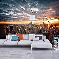 ニューヨーク市の写真の壁紙、夕日の風景、3D壁の背景写真、家の装飾の壁画、レストラン 250x175cm