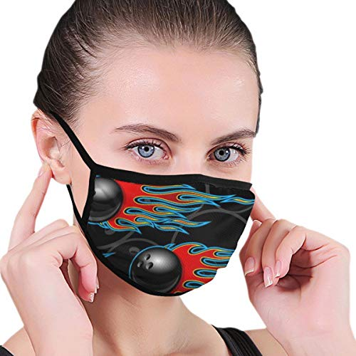 Outdoor Mouth Face Mask Bowling Ball Hot Rod Flame Anti Dust Half Face for Kids Teens Men Women Lovers Dustproof Adjustable Ear Loops