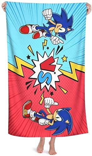 PEACLOUD Sonic The Hedgehog - Toalla de playa grande, toalla de baño para niños (4,90 x 180 cm)