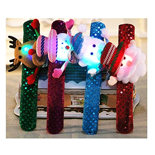 Preisvergleich Produktbild Zhhlinyuan Weihnachtsarmband [12 PCS]christmas Bracelets Wristband Birthday Party Supplies (snowman Old Man Deer Decoration) Toy for Adult Child Halloween Gift [sequined Style With Led]