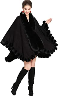 Knit Wrap Scarf Shawl Cape Coat with Luxury Faux Fur Collar