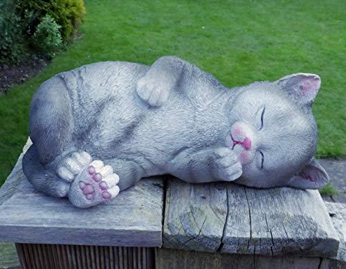 Small Sleeping Cat Garden Ornament Tabby Home Animal Sculpture Decor Resin Figure Grey NEW Gift (Sleepy Kitten)